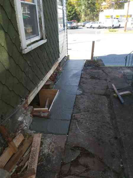 Concrete work around the house to prevent water penetration