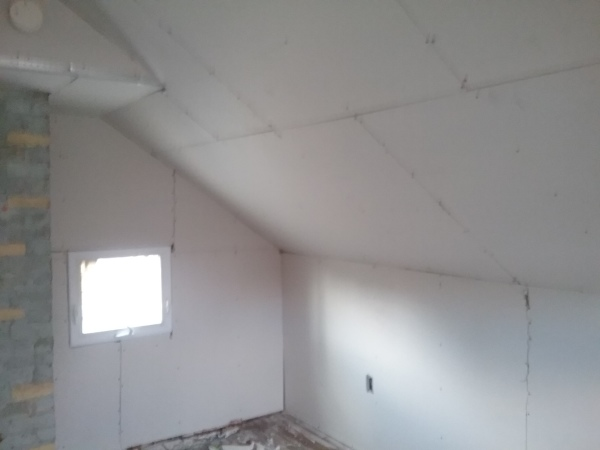 completed sheetrock in the attic
